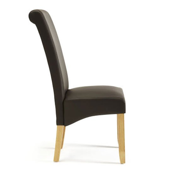Ameera Dining Chair In Brown Faux Leather And Oak in A Pair_3