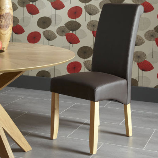 Ameera Dining Chair In Brown Faux Leather And Oak in A Pair_8