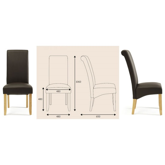 Ameera Dining Chair In Brown Faux Leather And Oak in A Pair_9