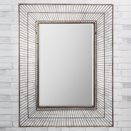 Bamford Wall Mirror Rectangular In Metal Gold Champagne