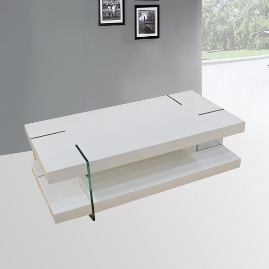 Armenia Coffee Table In White High Gloss With Glass Legs