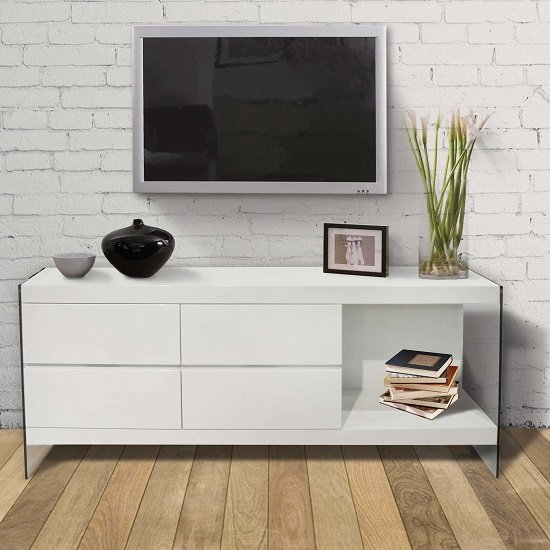 Armenia TV Sideboard In White High Gloss With Glass Legs
