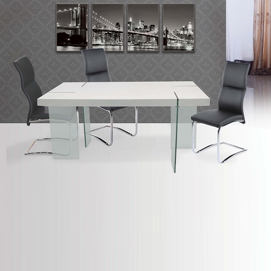 Armenia Dining Table In White Gloss With 6 Palma Black Chairs