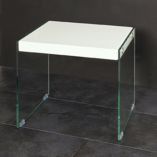 Toscana White High Gloss Coffee Table: Olympic High Gloss Top Side Table With Side Glass Panels 104