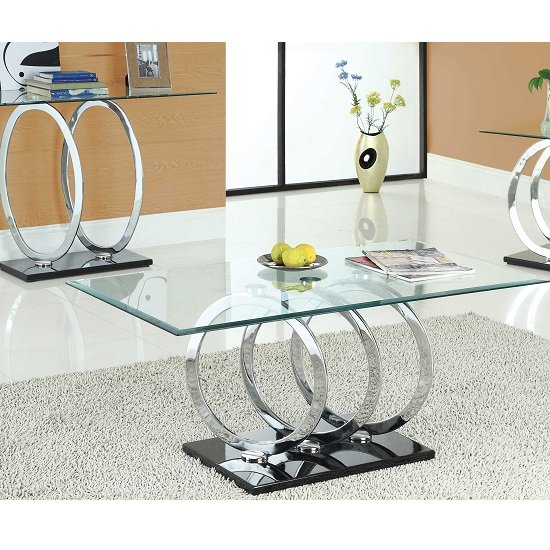 Olympus Clear Glass Coffee Table With Black Gloss Base