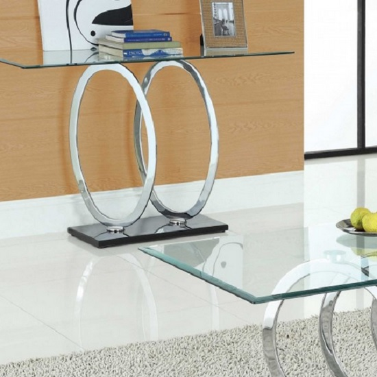 Olympus Clear Glass Console Table With Black Gloss Base_1