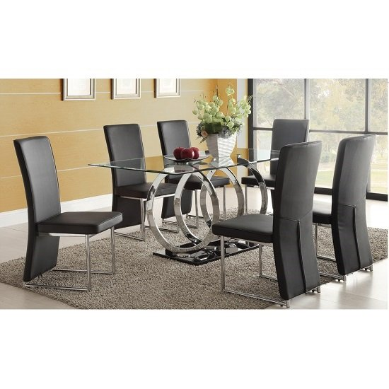 Olympus Clear Glass Dining Table And 6 Black Chairs