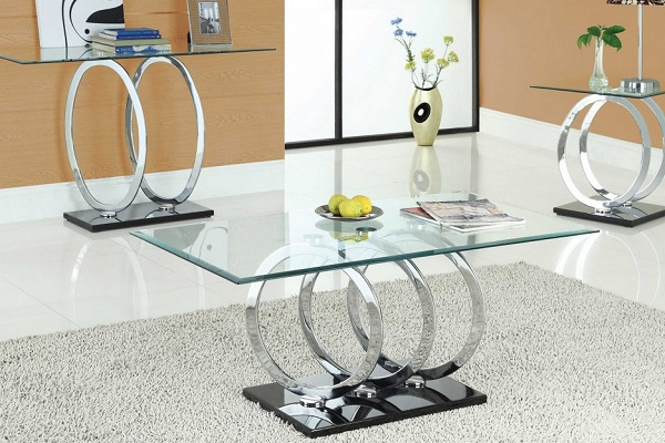 Olympus Clear Glass Coffee Table With Black Gloss Base_2