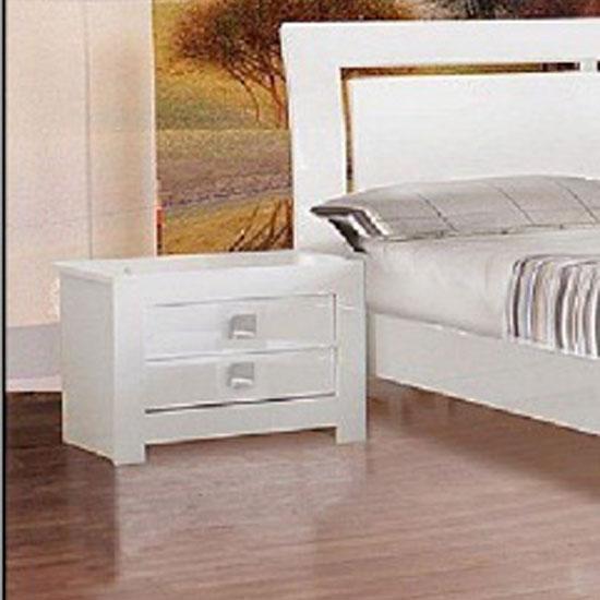 Omega White High Gloss Bedside Cabinet