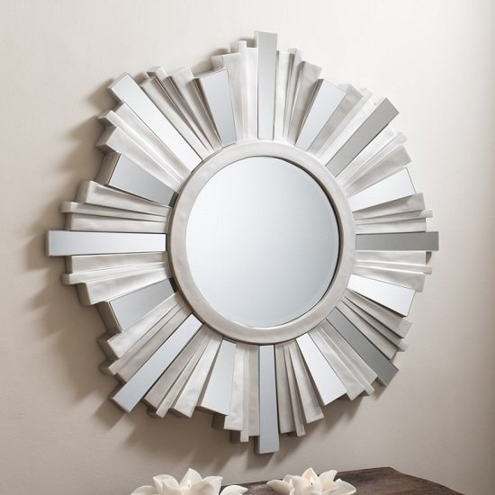 Read more about Barnveld wall mirror 3d starburst in silver with mirrored panels