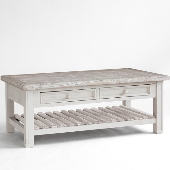 Opal coffee table in white pine farmhouse style 25390 White wood coffee table