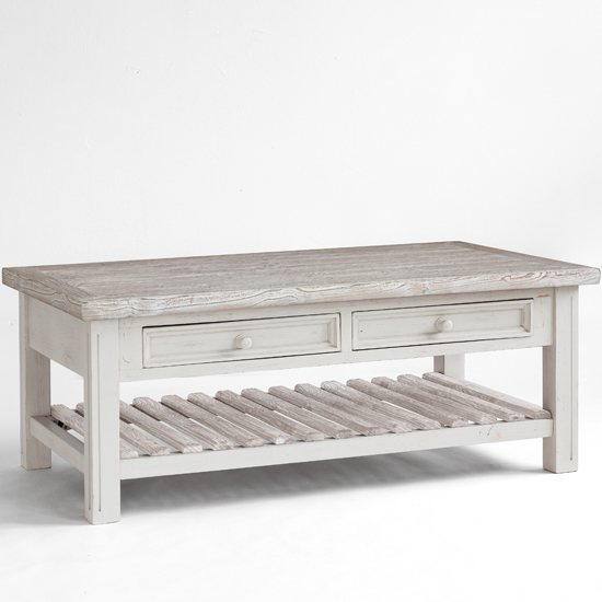 Opal Coffee Table In White Pine Farmhouse Style 25390