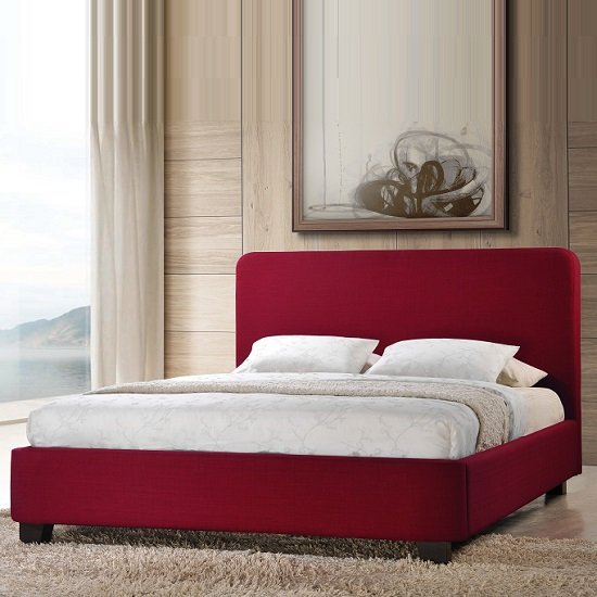 Opalia Bed In Red Fabric With Black Feet