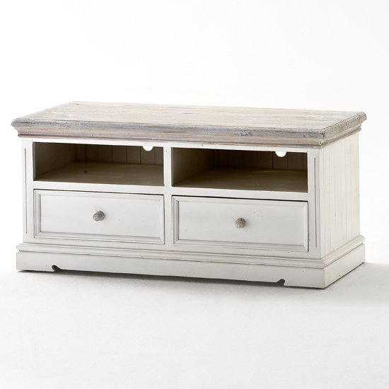 Opal Wooden TV Cabinet In White Pine With 2 Drawers