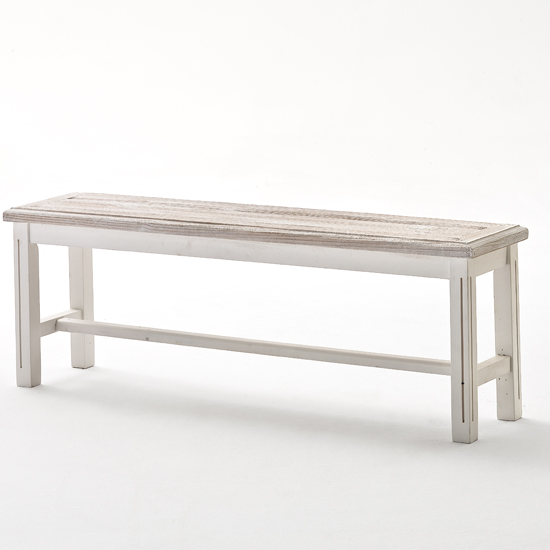 Read more about Opal dining bench in white pine 2 seater