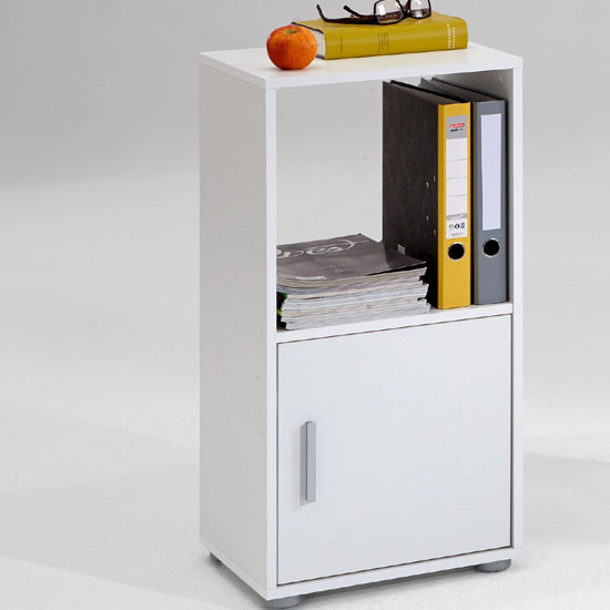Photo of Orga 2 white finish shelving unit with shelf and 1 door
