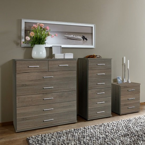 Sourin Bedside Cabinet In Montana Oak With 3 Drawers_2