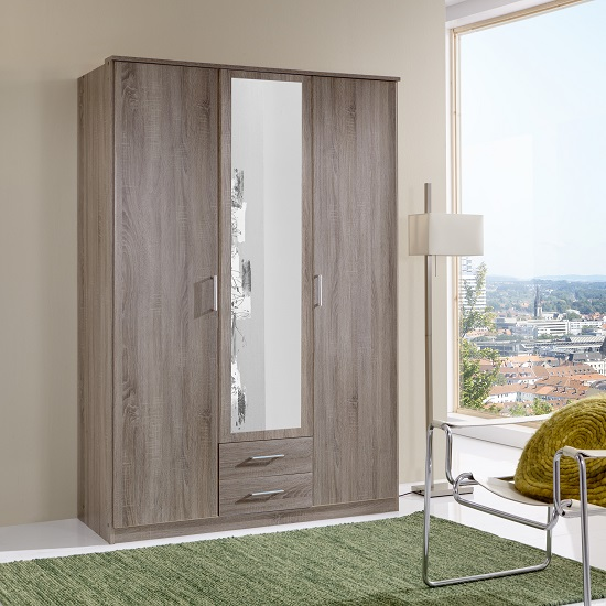 Sourin Mirror Wardrobe In Montana Oak With 3 Doors And 2 Drawers