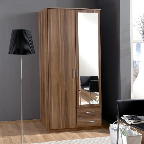 Sourin Mirror Wardrobe In Walnut With 2 Doors And 2 Drawers