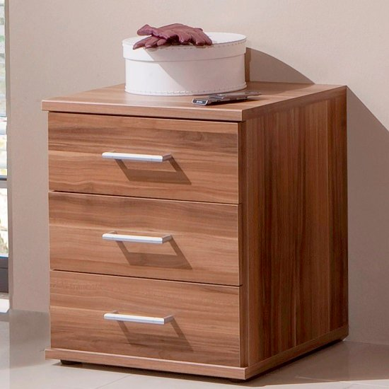Sourin bedside cabinet in walnut with 3 drawers bedside for Funky bedside cabinets