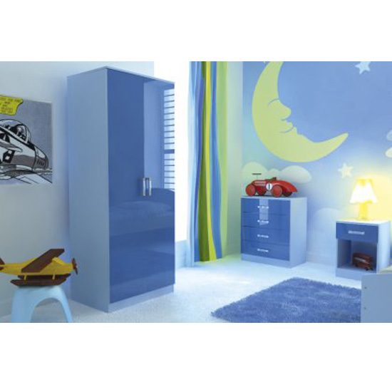 Ottawa 2 Tones 3 Piece Blue High Gloss Bedroom Set