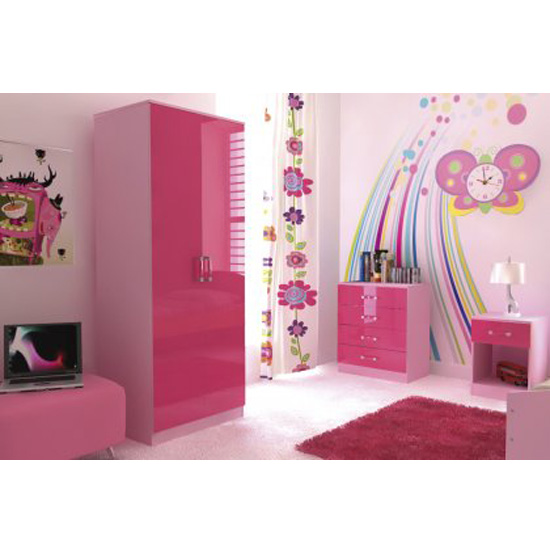 Ottawa 2 Tones 3 Piece Pink High Gloss Bedroom Set