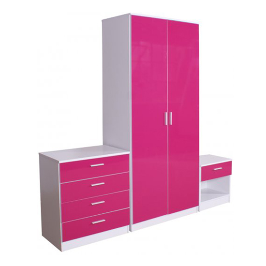Ottawa 3 Piece Bedroom Set In Matt White And Pink High Gloss