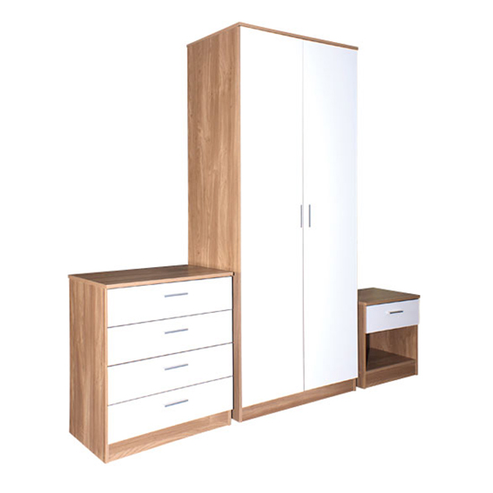 Ottawa 3 Piece Oak & White High Gloss Bedroom Set - A few Simple White Bedroom Furniture Décor Ideas For Your Home