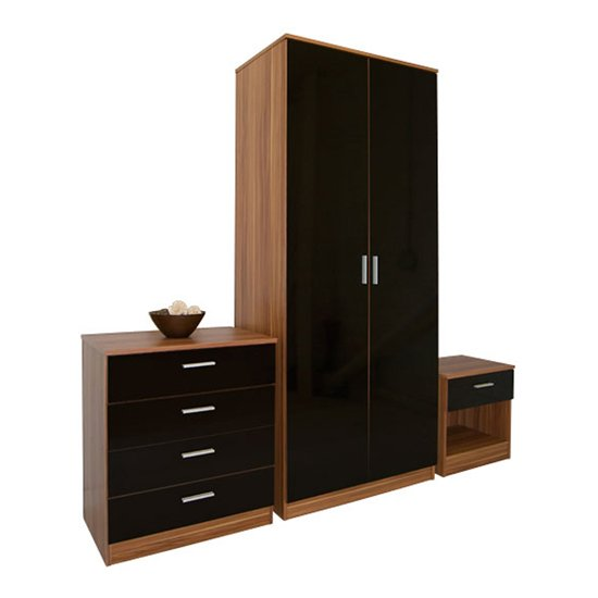 Ottawa 3 piece bedroom set in walnut and black high gloss for Bedroom and furniture
