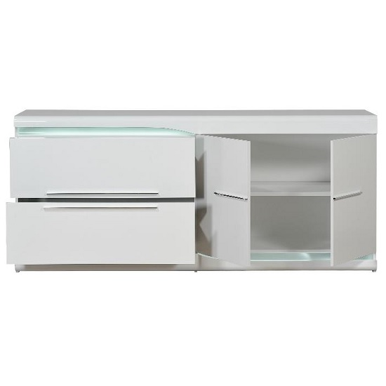 Merida Sideboard In White High Gloss With 2 Doors And LED_2