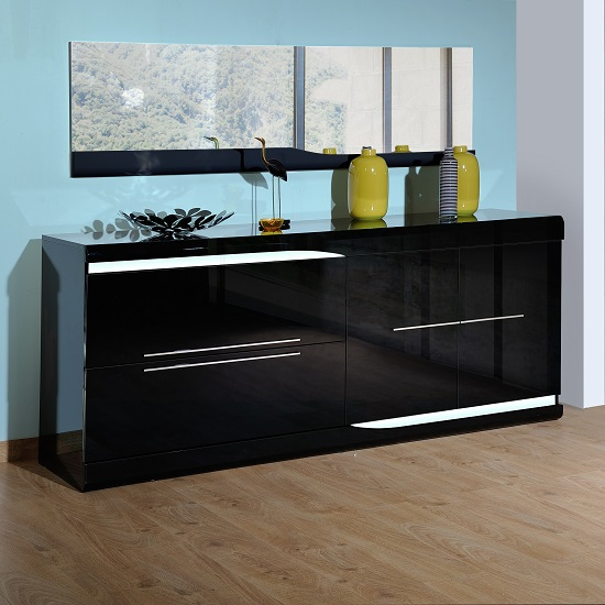 Merida Sideboard In Black High Gloss With 2 Doors And LED