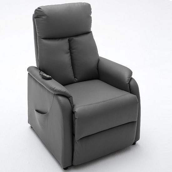 Click To Enlarge & Ofelia Relaxation Chair In Grey Faux Leather With Rise