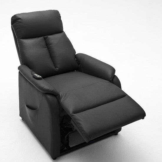 Ofelia Recliner Chair In Black PU Leather With Rise Function_2