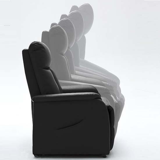 Ofelia Recliner Chair In Black PU Leather With Rise Function_5