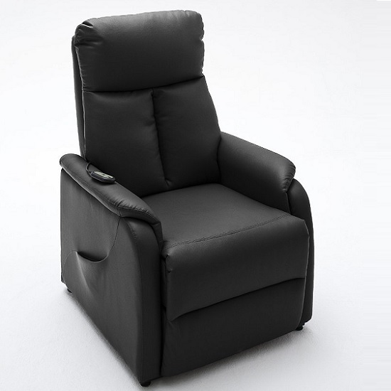 Ofelia Recliner Chair In Black Pu Leather With Rise Function