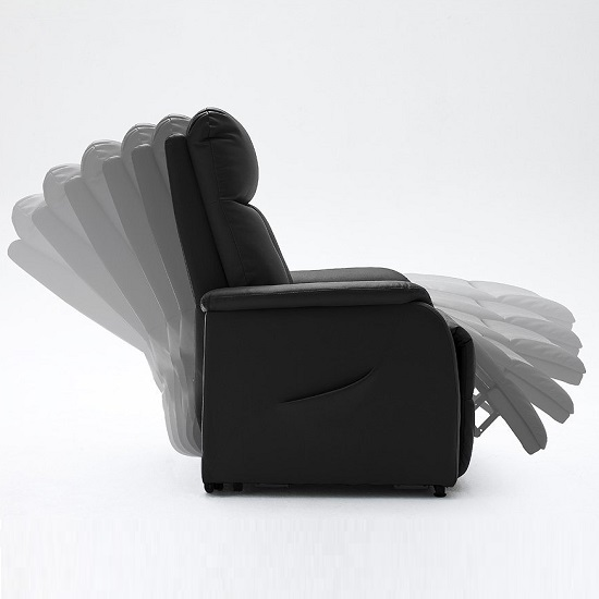 Ofelia Recliner Chair In Black PU Leather With Rise Function_3