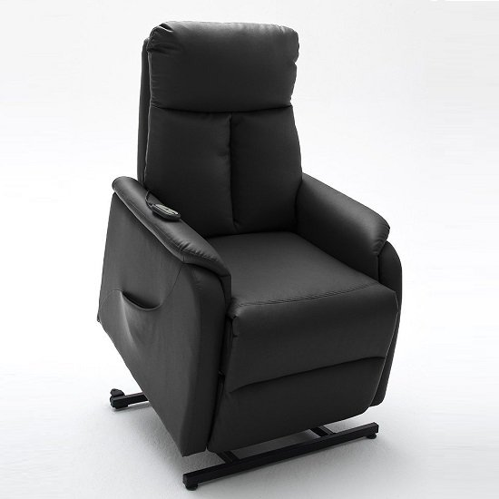 Ofelia Recliner Chair In Black PU Leather With Rise Function_4