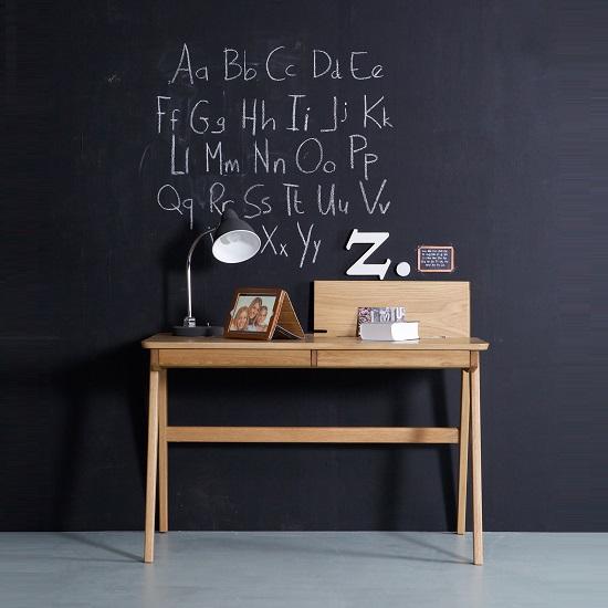 Clarion Wooden Computer Desk In Ash Veneer With 2 Drawers