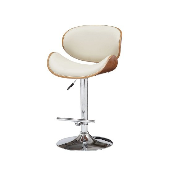 Panama Bar Stool In Cream PU Leather With Walnut And Chrome Base