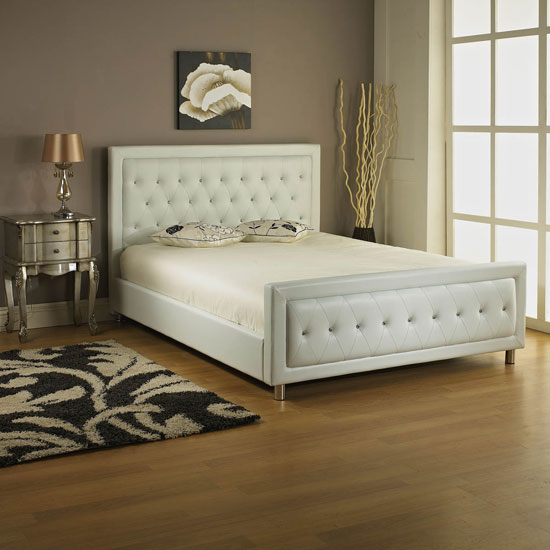Palmira Double Bed In White Faux Leather With Diamantes