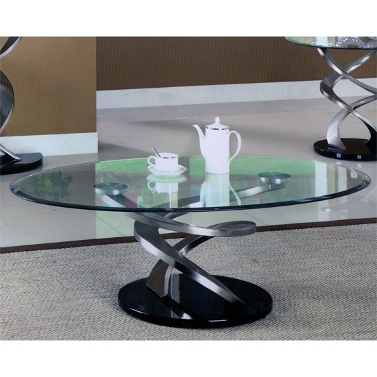 spiral glass coffee table with satin plated supports