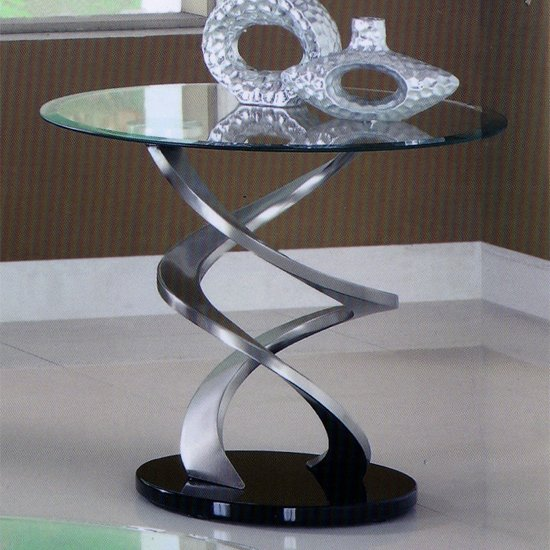 Spiral glass lamp table 13740 furniture in fashion - Glass tables for living room ...