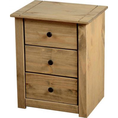 Amitola 3 Drawer Bedside Chest in Natural Oak Wax