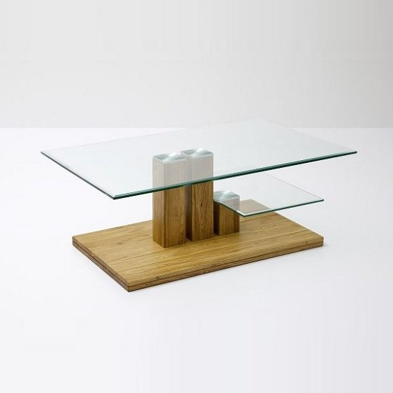 Selby Glass Coffee Table In Clear With Knotty Oak Base