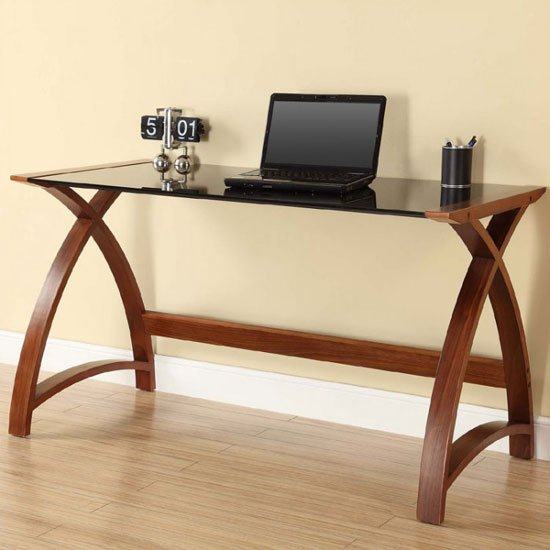 Cohen Curve Laptop Table Large In Black Glass Top And Walnut