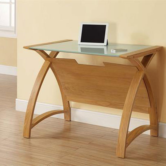 Cohen Curve Laptop Table Small In Milk White Glass Top And