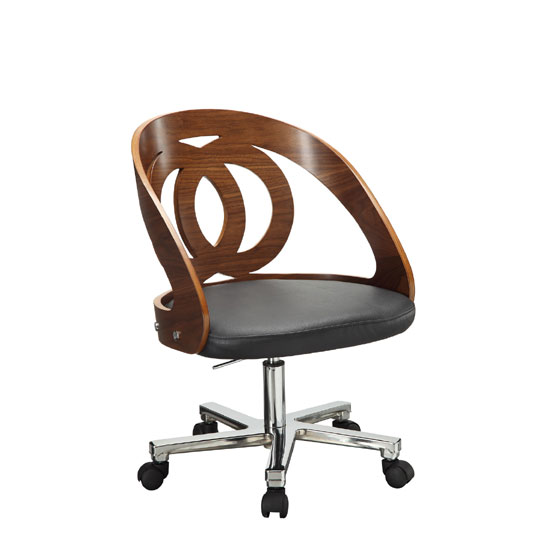 Juoly Walnut Finish Black Faux Leather Office Chair