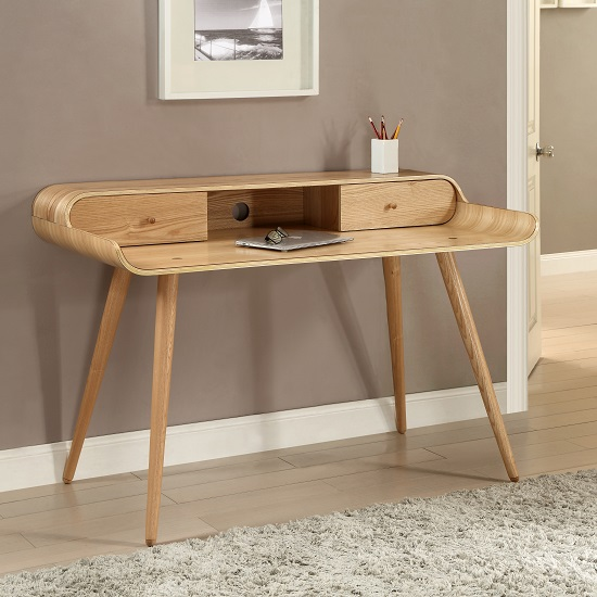 Worcester Wooden Laptop Desk In Natural Ash With 2 Drawers