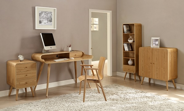 Worcester Home Office Chair In Natural Ash With Armrests