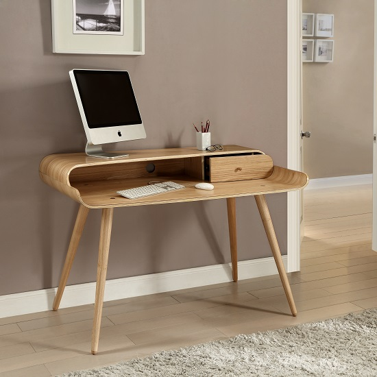 Worcester Wooden Laptop Desk In Natural Ash With 1 Drawer